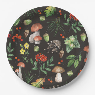 Watercolor Forest Leaves Mushrooms Flowers | Paper Plate