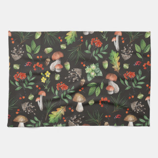 Watercolor Forest Mushrooms Leaves Flowers | Kitchen Towel