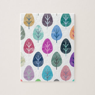 Watercolor Forest Pattern Jigsaw Puzzle