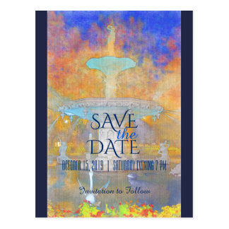 Watercolor Fountain at Night Photo Save The Date Postcard