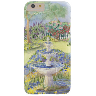 Watercolor Fountain Pond w Picket Fence Flowers