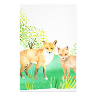 Watercolor fox and kit customized stationery