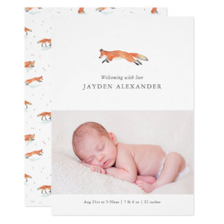 Watercolor Fox Birth Announcement