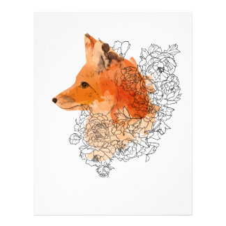 Watercolor Fox in flowers Letterhead