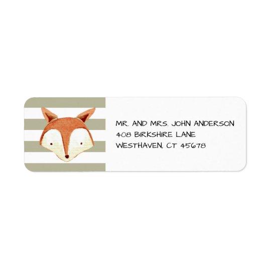 Watercolor Fox Navy Orange Stripes Label Return Address Label