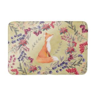 Watercolor Fox Winter Berries Gold Bath Mat