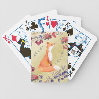 Watercolor Fox Winter Berries Gold Bicycle Playing Cards