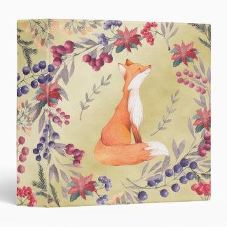 Watercolor Fox Winter Berries Gold Binders