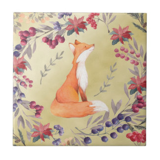 Watercolor Fox Winter Berries Gold Ceramic Tile