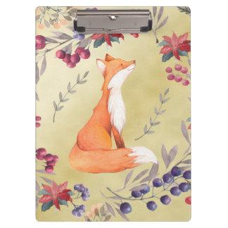 Watercolor Fox Winter Berries Gold Clipboard