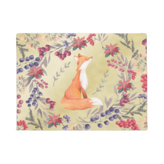 Watercolor Fox Winter Berries Gold Doormat