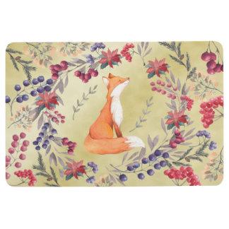 Watercolor Fox Winter Berries Gold Floor Mat