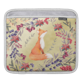 Watercolor Fox Winter Berries Gold iPad Sleeves