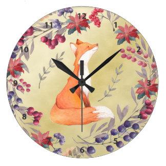 Watercolor Fox Winter Berries Gold Large Clock