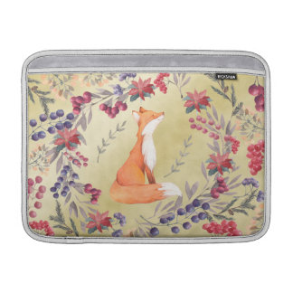 Watercolor Fox Winter Berries Gold MacBook Sleeve