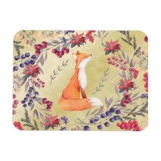 Watercolor Fox Winter Berries Gold Magnet