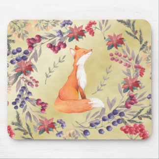 Watercolor Fox Winter Berries Gold Mouse Pad