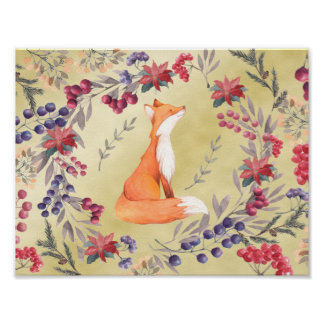 Watercolor Fox Winter Berries Gold Poster
