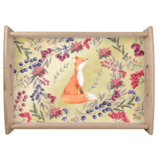 Watercolor Fox Winter Berries Gold Serving Tray