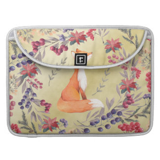 Watercolor Fox Winter Berries Gold Sleeve For MacBook Pro