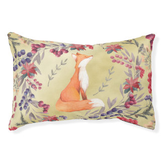 Watercolor Fox Winter Berries Gold Small Dog Bed