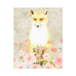 Watercolor Fox with Pink Roses Canvas Print