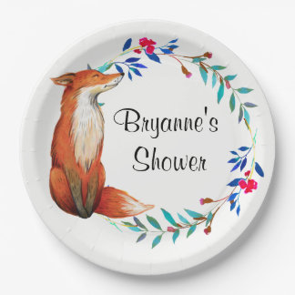 Watercolor Fox & Wreath Party Plates 9 Inch Paper Plate