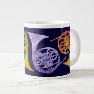 Watercolor French Horns Large Coffee Mug