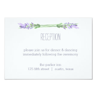 Watercolor French Lavender on White Reception Card