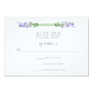 """Watercolor French Lavender on White Wedding RSVP 3.5"""" X 5"""" Invitation Card"""