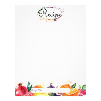 Watercolor fruit baking bakery recipe letterhead