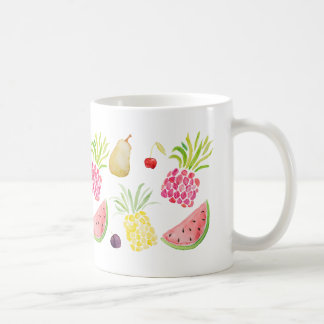 Watercolor fruit cherry pineapple watermelon coffee mug