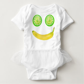 Watercolor fruit smiley face baby bodysuit