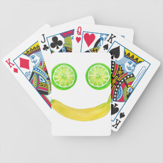 Watercolor fruit smiley face bicycle playing cards