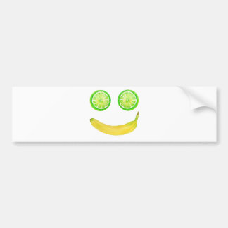 Watercolor fruit smiley face bumper sticker