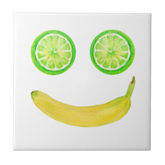 Watercolor fruit smiley face ceramic tile