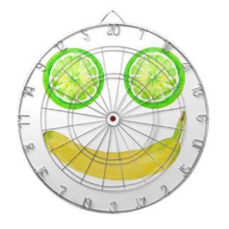 Watercolor fruit smiley face dartboard