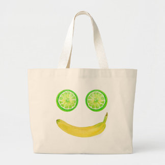 Watercolor fruit smiley face large tote bag