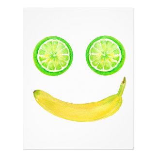 Watercolor fruit smiley face letterhead