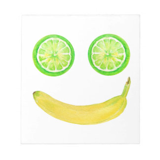 Watercolor fruit smiley face notepad