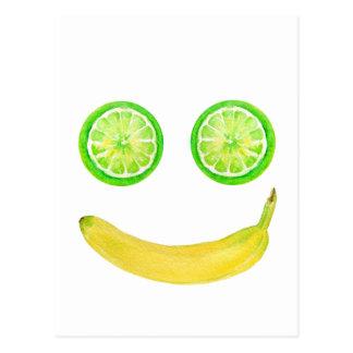 Watercolor Fruit Smiley Face Postcard