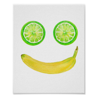 Watercolor Fruit Smiley Face Poster