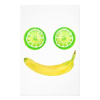 Watercolor fruit smiley face stationery