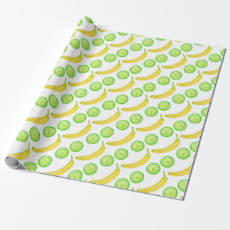 Watercolor fruit smiley face wrapping paper