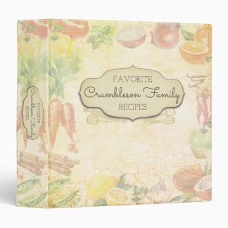 Watercolor fruit vegetable cookbook recipe binder