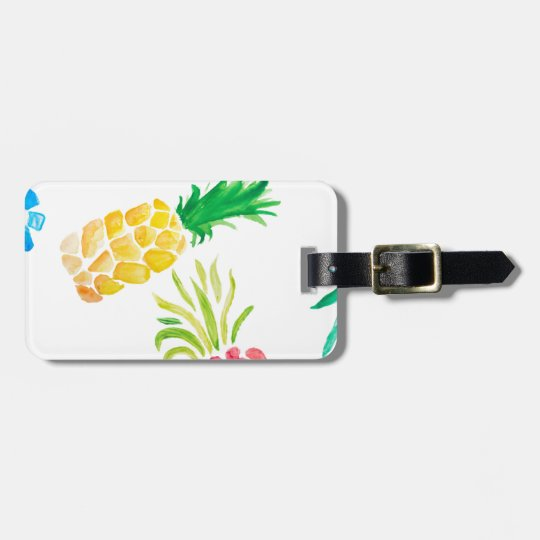 Watercolor fruit yellow, pink and blue pineapple luggage tag