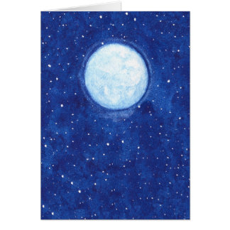 Watercolor Full Moon Card