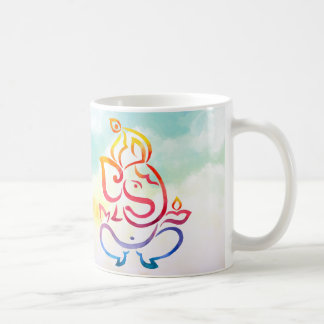Watercolor Ganesha and Rangoli color illustration Coffee Mug