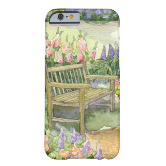 Watercolor Garden Bench w Bright Spring Flowers Barely There iPhone 6 Case