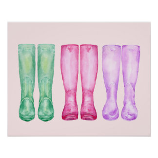 Watercolor garden boots poster